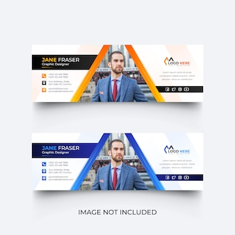 Modern email signature template or email footer design set
