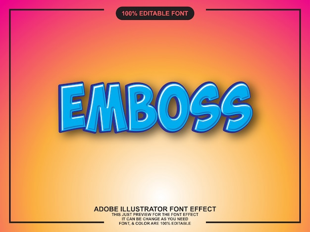Modern emboss text effect editable typography