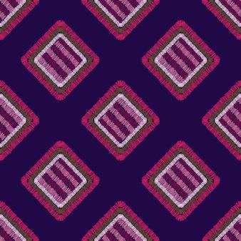 モダンな刺繡カーペットの幾何学的形状のシームレスなパターン。タイルの形の背景。手描きのベクトル図です。パッチワークの飾り。