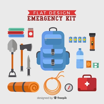 Modern emergency survival kit in flat design