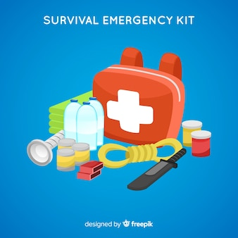 Modern emergency survival kit in flat style