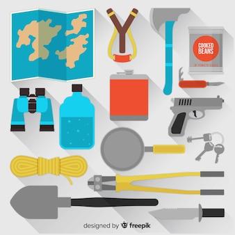 Modern emergency survival kit in flat style