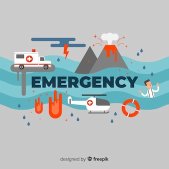 Modern emergency word concept with flat design