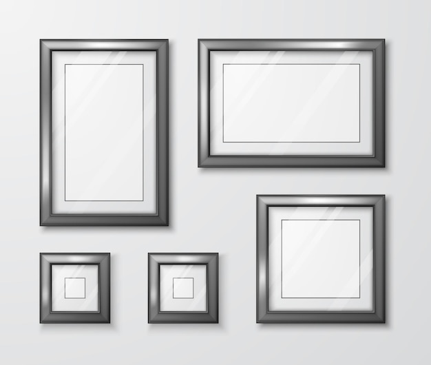 Modern empty frame template with transparent glass and shadow