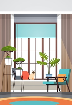Modern empty living room interior no people apartment with furniture