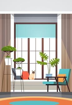 현대 빈 거실 인테리어 가구 없음 사람들 아파트