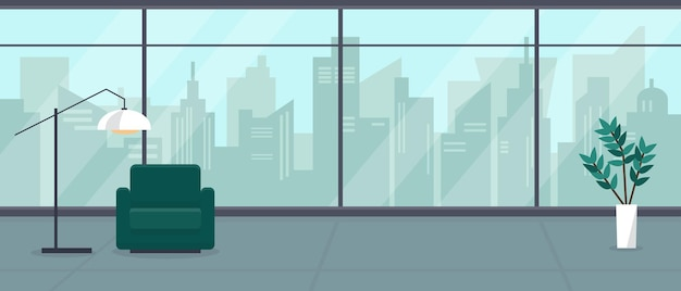 큰 탁 트인 창문과 도시 전망을 갖춘 현대적인 빈 거실 또는 사무실