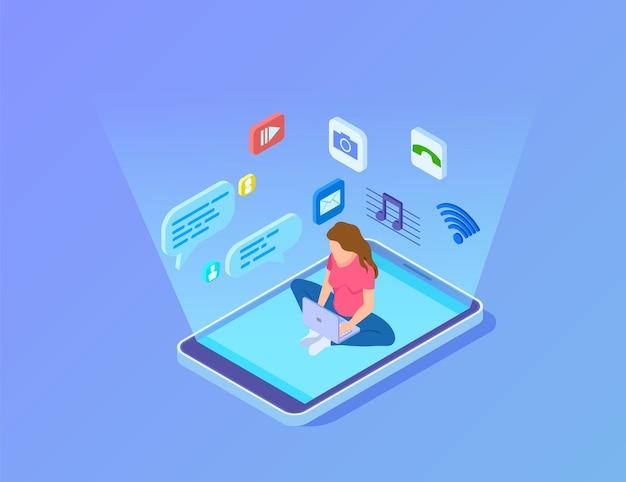 Современные развлечения. инновационный цифровой центр, девушка использует смартфон и ноутбук. изометрические мультимедиа или социальные сети подключают векторные иллюстрации. гаджет-приложение, медиа-мессенджер