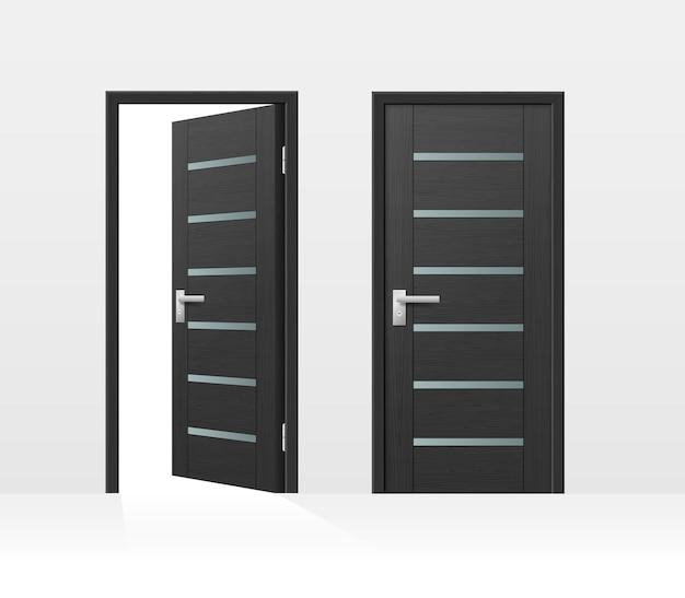 Современная входная дверь для входа в дом или комнату, изолированные на белом фоне