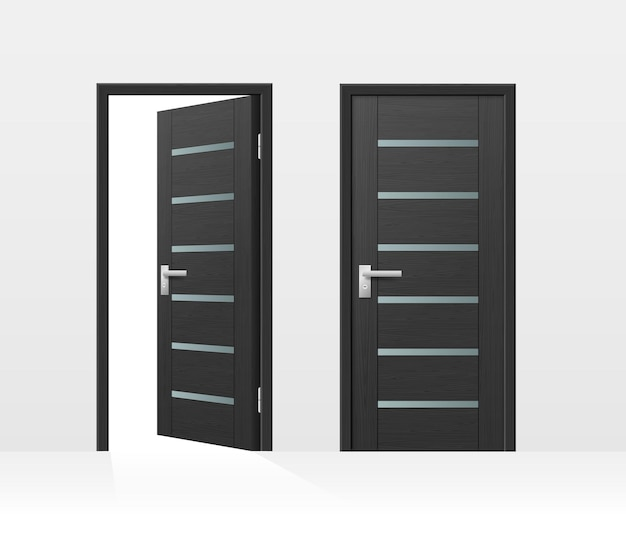 Modern entrance door for house or room entrance isolated on white