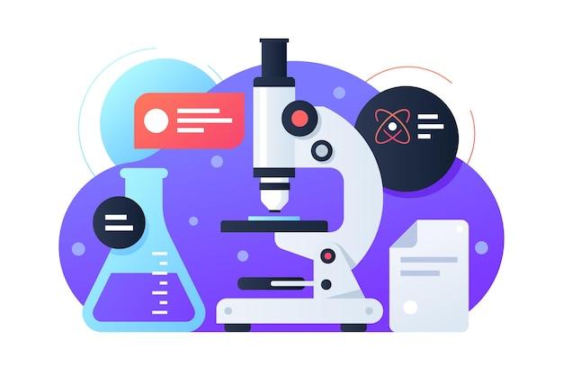 フラスコと顕微鏡による科学研究に使用する最新の機器。化学、医学、生物学の開発のための分離されたコンセプトアイコン。