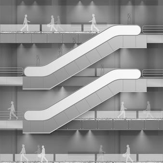 広告のための場所と近代的なエスカレーター側ビューオフィスモールショッピングセンタービジネスビルディングインテリア背景に分離されたビュー