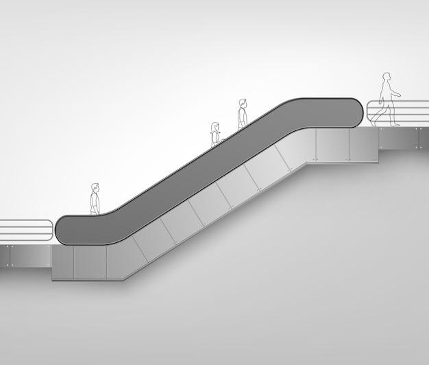 白い背景に分離された広告サイドビューのための場所を持つ近代的なエスカレーター