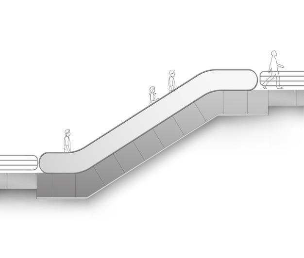 Современный эскалатор с местом для рекламы, вид сбоку, изолированные на белом фоне
