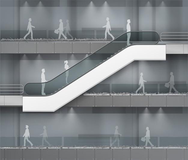 オフィスモールのショッピングセンターのビジネスビルディングのインテリアの背景に広告側ビューの場所を持つモダンなエスカレーター
