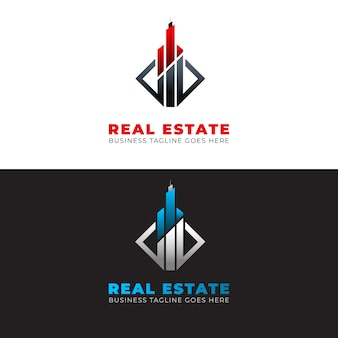 Modern estate logo template with elements Premium Vector