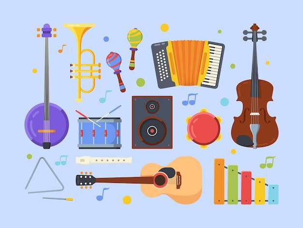 現代民族楽器フラットセット。ヴァイオリン、バンジョー、アコースティックギター。タンバリン、フルート、木琴。さまざまな民俗音楽機器コレクション