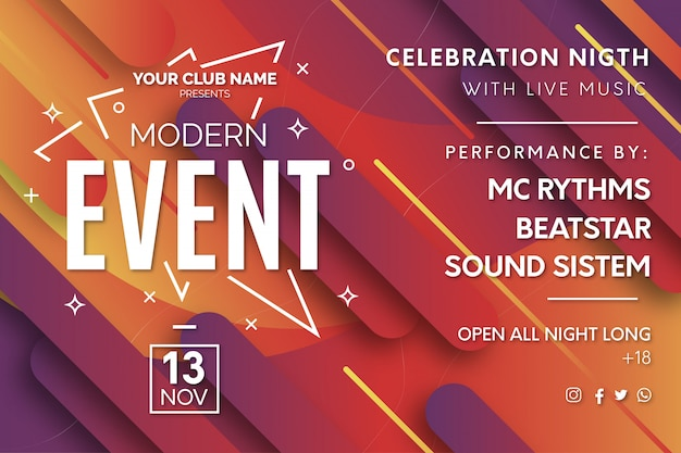 Modern event banner template with degrade background