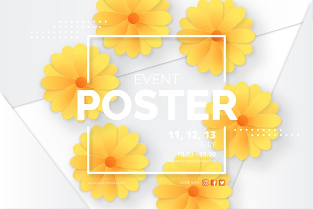 Modern event poster template with paper cut daisies
