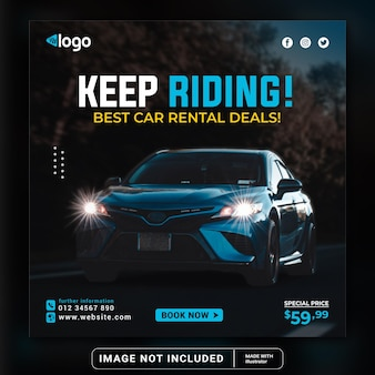 Modern exclusive elegant  car riding for social media post banner template or square flyer