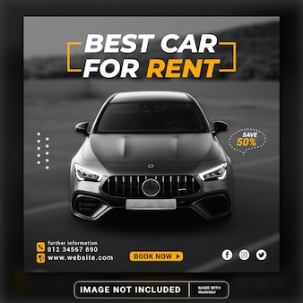 Modern exclusive elegant rent and buy car for social media post banner template or square flyer