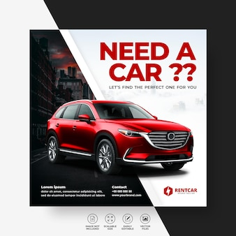 Modern exclusive elegant rent and buy car for social media post banner vector template
