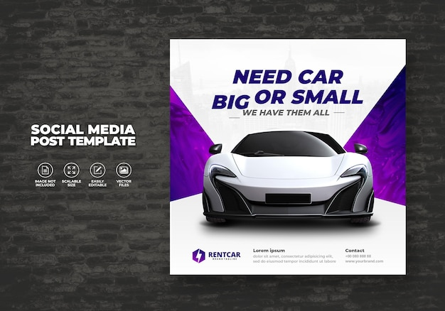 Modern exclusive new rent and buy car for social media post elegant banner vector template