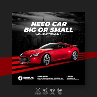 Modern exclusive rent and buy car for social media post banner vector template