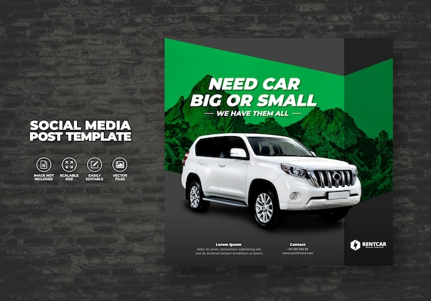 Modern exclusive but and rent car for social media post banner vector template