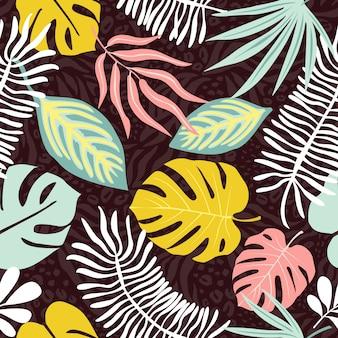 Современные экзотические джунгли фрукты и растения бесшовные модели в векторе.