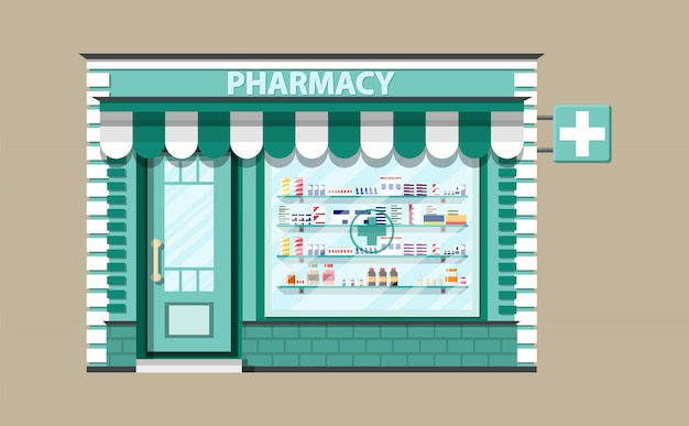 Modern exterior pharmacy or drugstore.