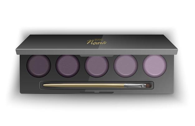 Современная палитра теней для век smokey eyes. в 3d иллюстрации, вид сверху косметического продукта
