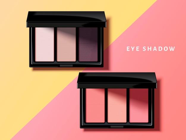 Modern eye shadow palette, pink and purple tone eye shadow in 3d illustration, geometric background