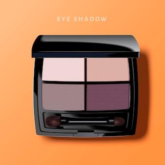Современная палитра теней для век, тени для век фиолетового тона на 3d иллюстрации, вид сверху косметического продукта на оранжевой поверхности
