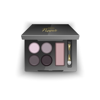 Modern eye shadow palette for smokey eyes.   in 3d illustration, top view of cosmetic product