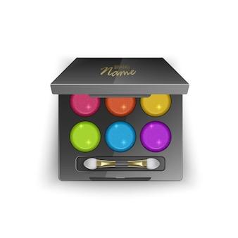 Современная палитра теней для век с яркими и красочными цветами. в 3d иллюстрации, вид сверху косметического продукта