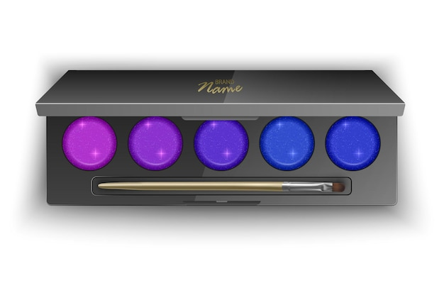 Modern eye shadow palette with bright and colorful colors.   in 3d illustration, top view of cosmetic product