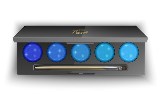 Современная палитра теней для век с яркими цветами от темно-синего до светло-голубого. иллюстрация, вид сверху косметического продукта на белом фоне, иллюстрация