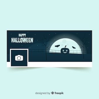 Modern facebook banner with halloween concept