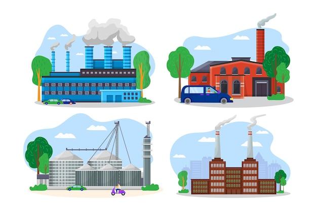 현대 공장 건물 풍경 보기, 기계 공장 파이프 방전 환경 오염 평면 벡터 일러스트 레이 션, 흰색 절연.