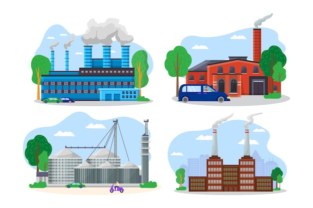 Modern factory building cityscape view, mechanical plant pipe discharge environmental pollution flat vector illustration, isolated on white.