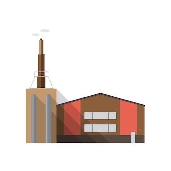 Modern factory building with pipe emitting smoke isolated on white background. manufacturing plant of contemporary industrial architecture. cartoon colorful illustration in flat style.