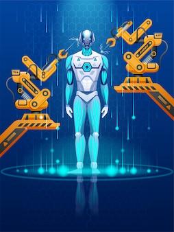 未来の自動化された作業ツールを備えた近代的な工場または実験室。工場でサイボーグを生産するロボット組立ライン。