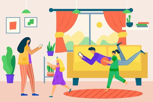 Современный семейный персонаж вместе использует смартфон-гаджет, люди, отец, мать и дети, цифровая наркомания плоская векторная иллюстрация.
