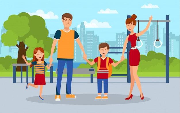 Modern family, kids with parents flat illustration