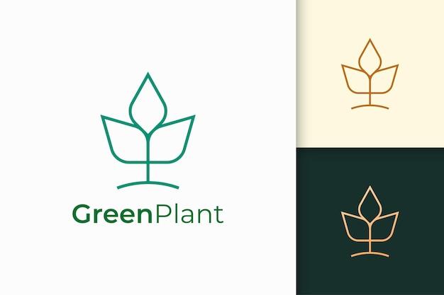 シンプルな線の形で現代の農業または農業のロゴ