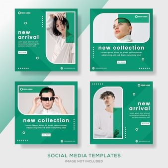 Modern fashion sale banner template with green color.