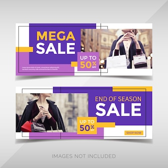Modern fashion sale banner with geometric shapes
