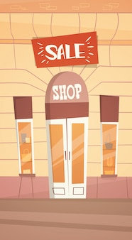 Modern fashion shop big sale banner retial store exterior