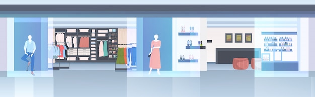 Modern fashion shop interior empty n people clothes store horizontal